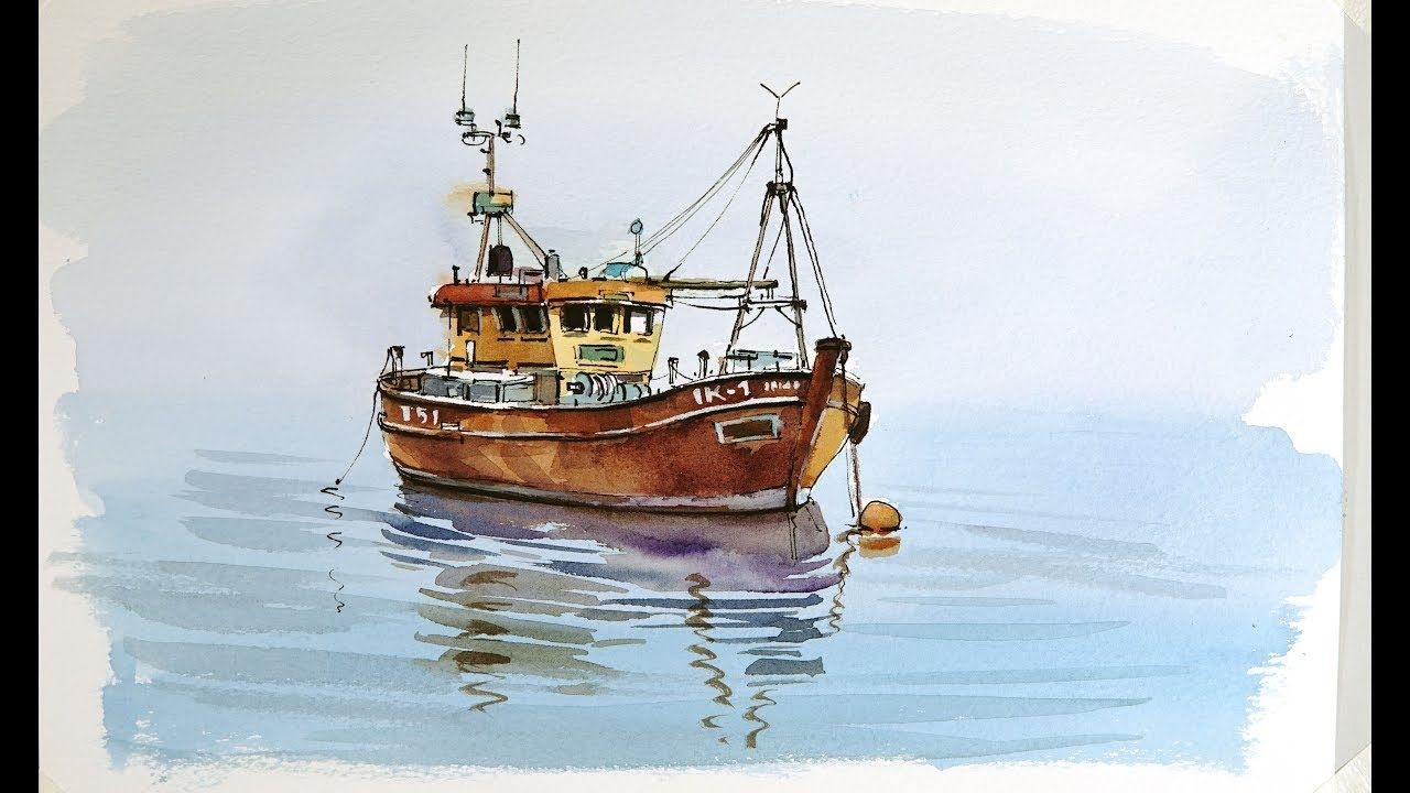 Pen And Wash Watercolor Demonstration Old Fishing Boat Youtube