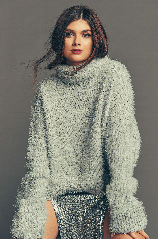 7a4de3f0e3 Fatima Turtleneck Sweater ~ Fuzzy Vail Knit