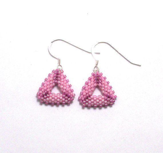 Rose Pink Triangle Beadwork Earrings by SleeplessArt on Etsy, $22.00
