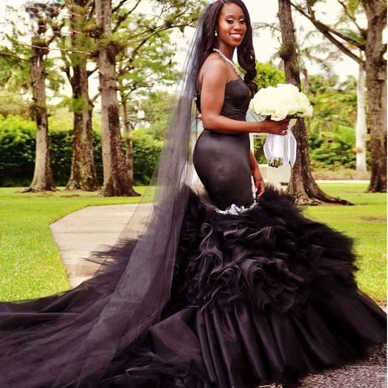 Black Mermaid Wedding Dress Vintange Gothic Sweetheart Wedding Gowns Sweetheart Wedding Gown Modest Bridal Gowns Black Wedding Dresses