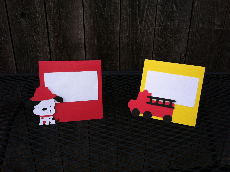 Firetruck Firefighter Dalmatian Theme Food Tent Cards 12 50 Via