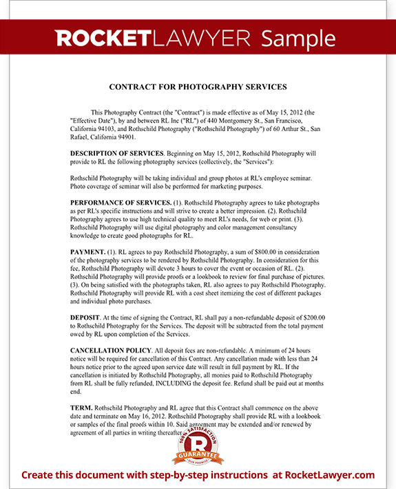 Photography Contract Template For Weddings Portraits Events