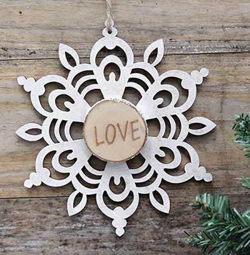 Snowflake Ornament Rustic Christmas Decor Wood Slice Love ...