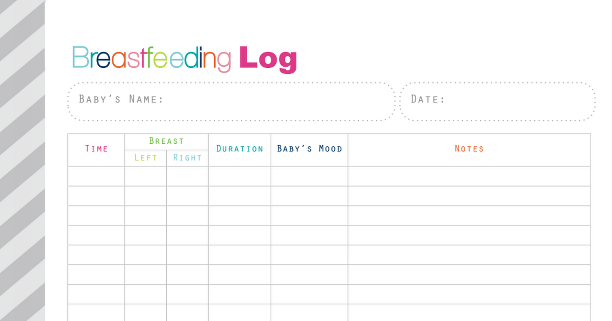 Clever image pertaining to printable breastfeeding log