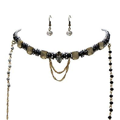Rosemarie Collections Women's Necklace Earrings Set Double Layer Beaded Choker (Black)