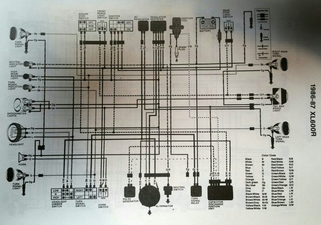 wiring diagram for 1986 Honda XL 600 R , XL600R