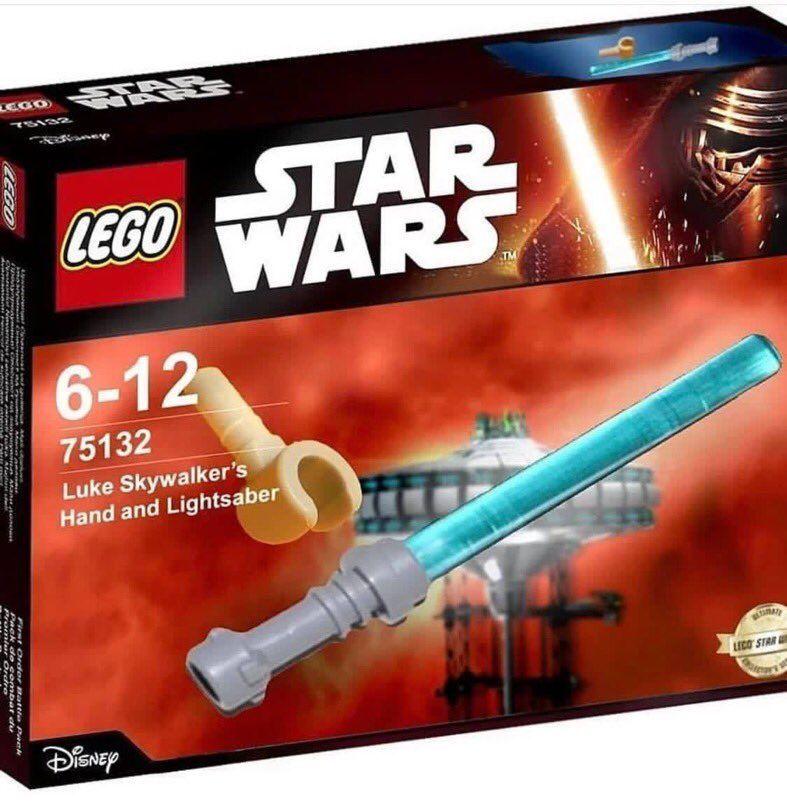 Lego Luke Skywalker S Hand And Lightsaber Star Wars Jokes Star Wars Humor Star Wars Memes