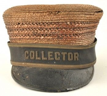 """Woven straw hat with ribbon strip reading """"COLLECTOR"""" dating to the 19th. Century. Woven material is mostly in good condition but is a bit brittle and is broken in a few areas. size: unmarked"""
