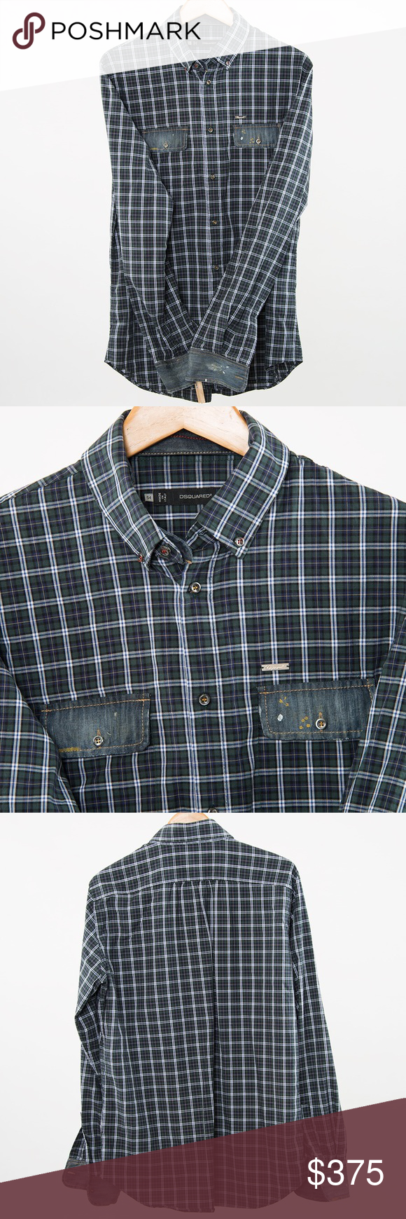 Wool cashmere flannel jacket  Dsquared Navy Cotton u Denim Flannel Shirt    Button down