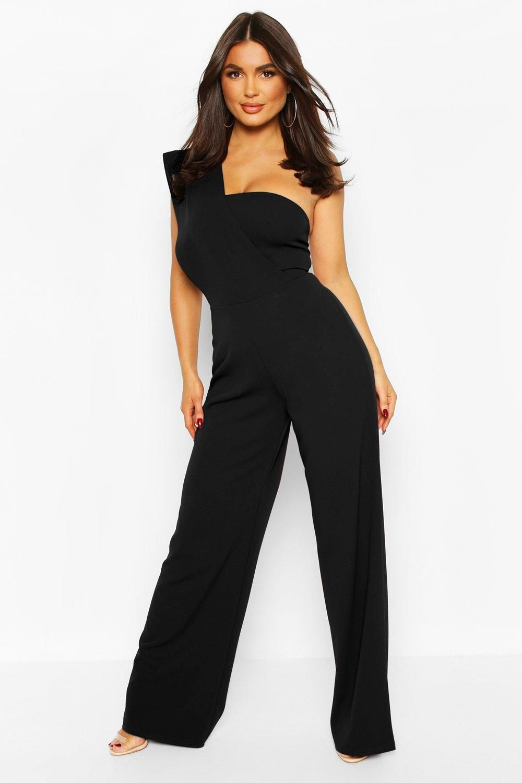 One Shoulder Wide Leg Jumpsuit Boohoo Wide Leg Jumpsuit Black Dresses Classy Street Style Outfit [ 1500 x 1000 Pixel ]