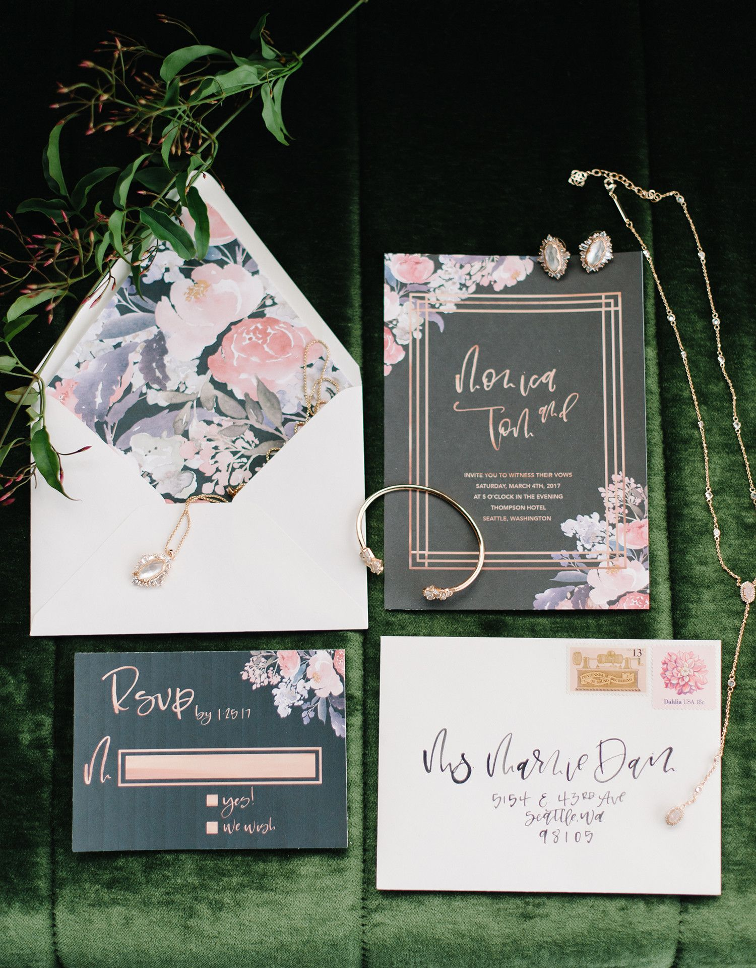 22d2b0aa26f8 The moody color palette and metallic accents in this floral invitation  suite certainly take it to the next level. We love the contrast between the  dark ...