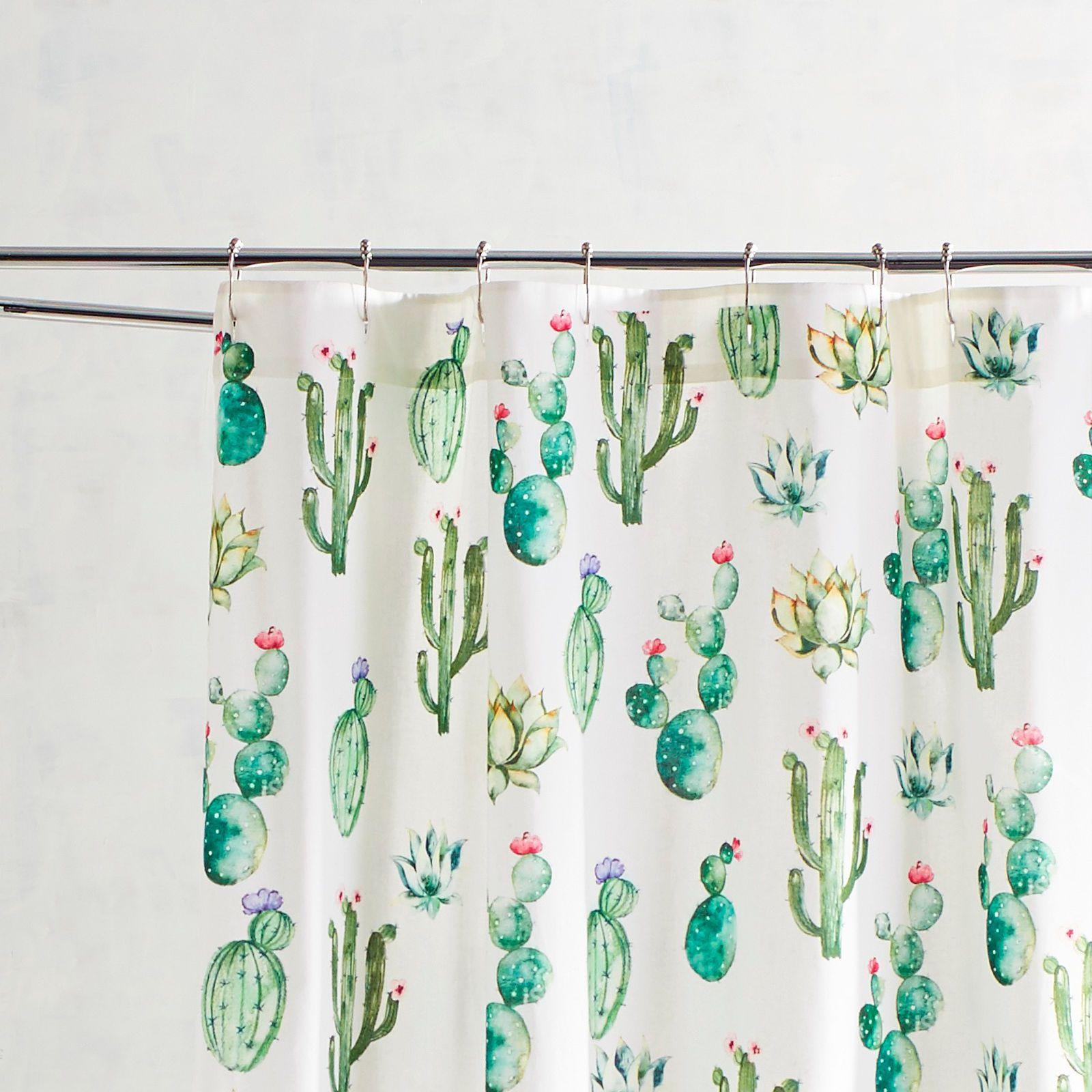 Watercolor Cactus Shower Curtain Cactus Shower Curtain Bathroom