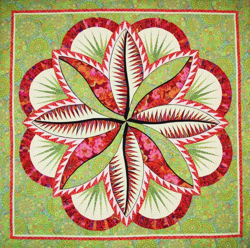 Fire Island Hosta Quilt 74 X 74 Shown In Kaffe Fassett Fabrics