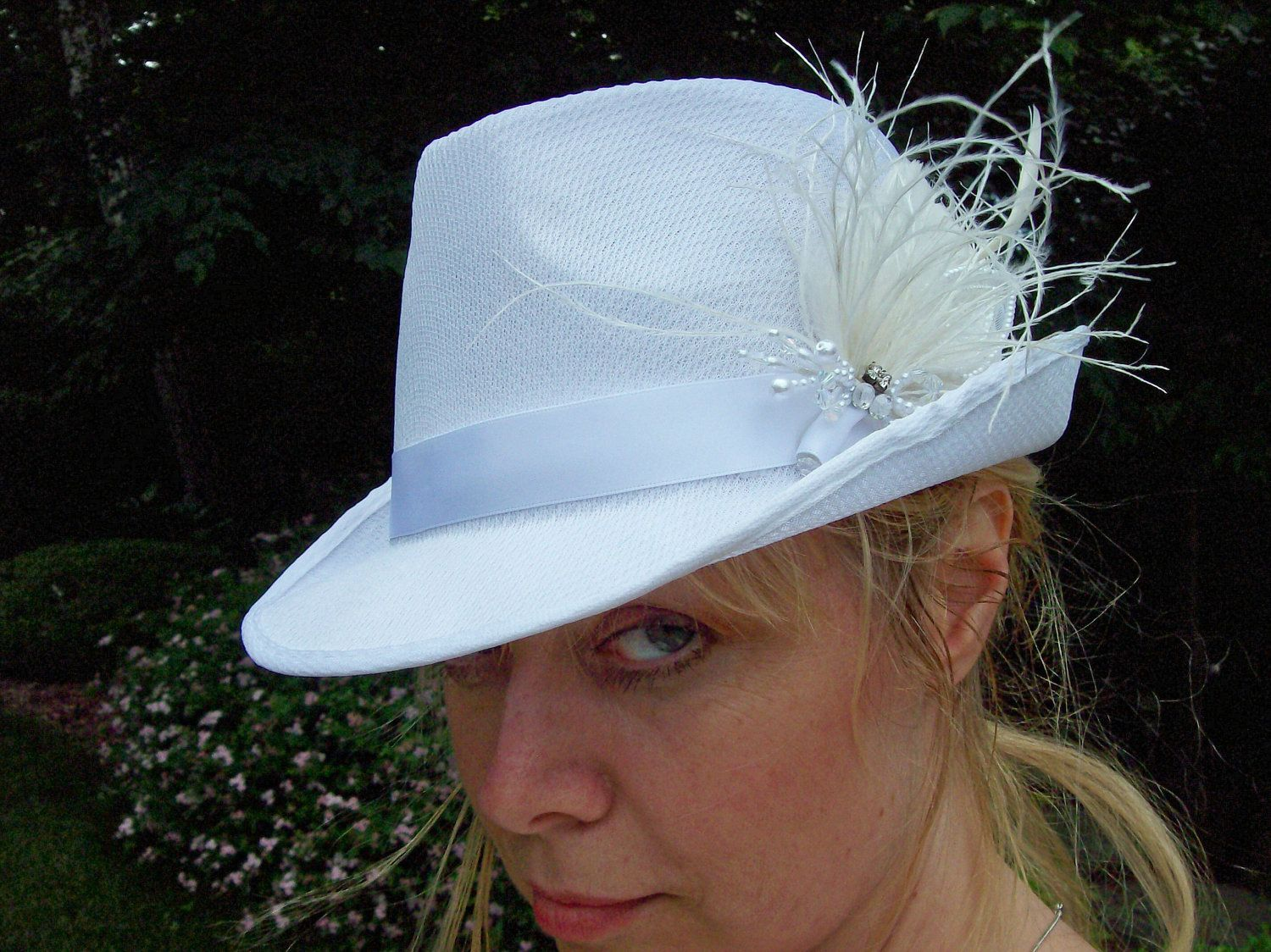 340fc497dc4 Fedora hat bridal with feathers and crystal cap unusual bride unique bride  shower lesbian wedding by