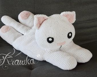 Crochet Cat Pattern - Pajamas Holder - Baby Comforter - Big Plush Toy
