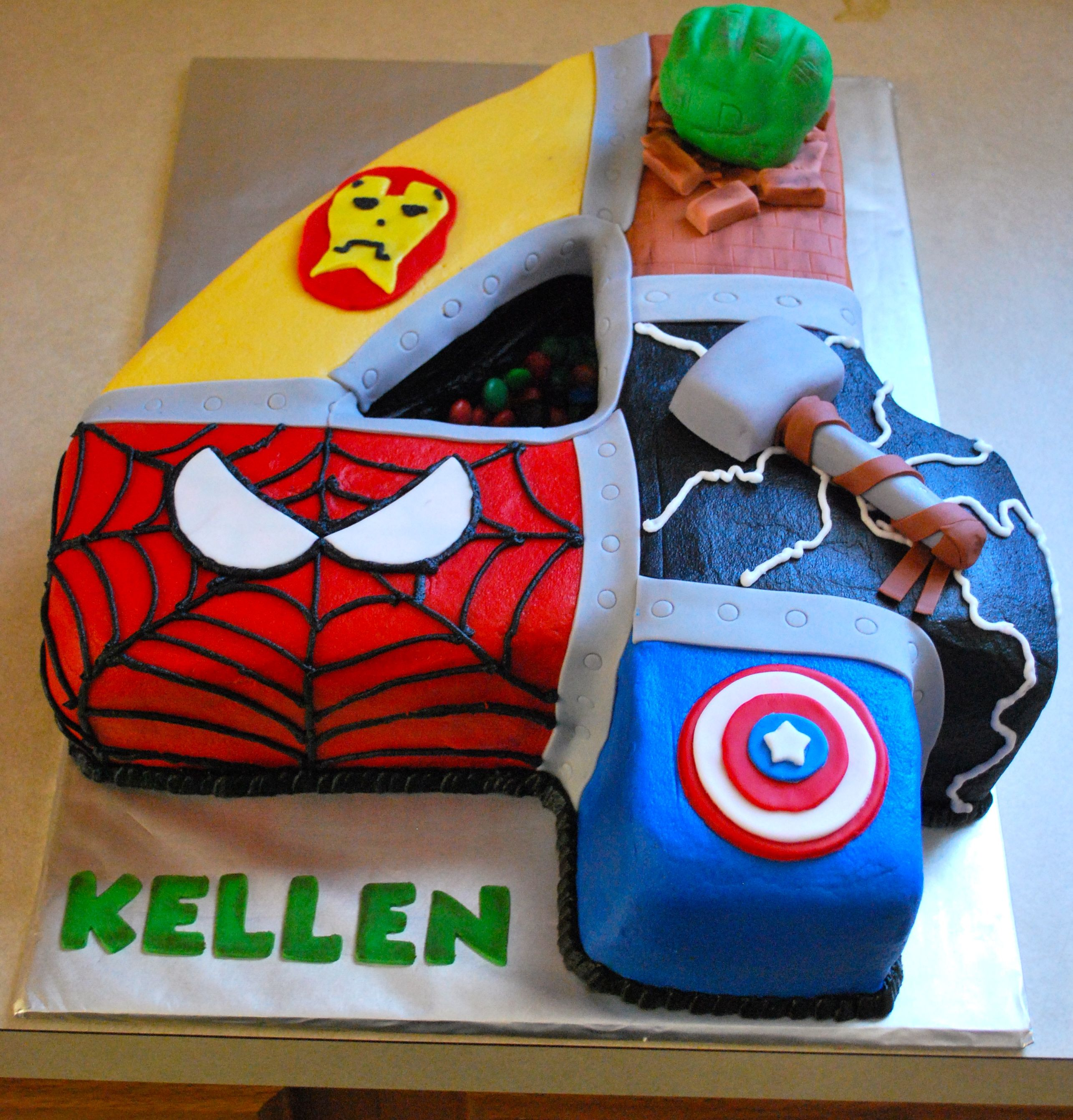 Groovy Super Heros Number 4 Cake With Images Avenger Birthday Party Personalised Birthday Cards Rectzonderlifede