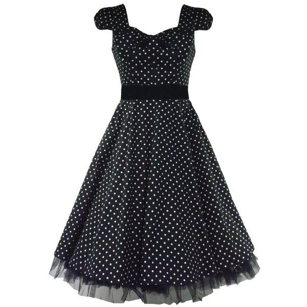 Tiger\\ Milly 50\'s Vintage Tea Prom Dress Small Polka Dot Black ...