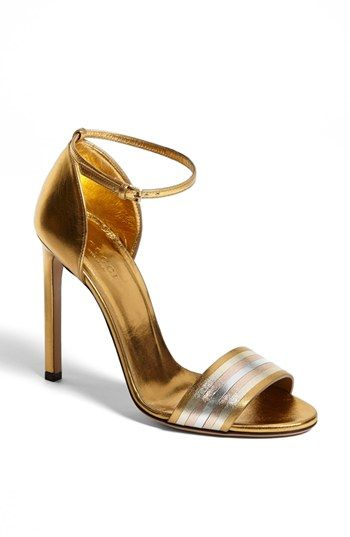 Sophisticated Style | Serafini Amelia |Gucci 'Cara' Metallic Ankle Strap Sandal available at #Nordstrom