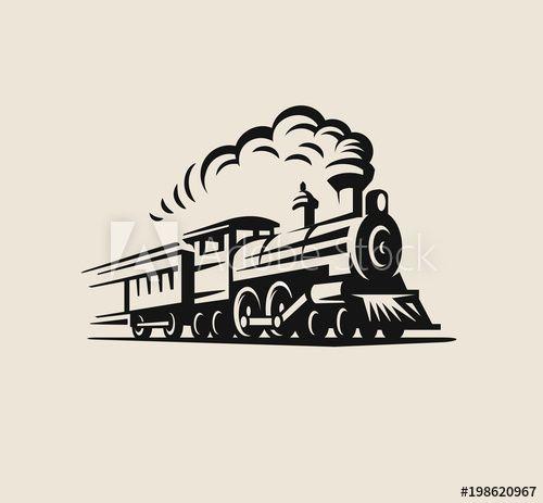Retro Train Vintage Emblem Train Drawing Train Tattoo Train Vector