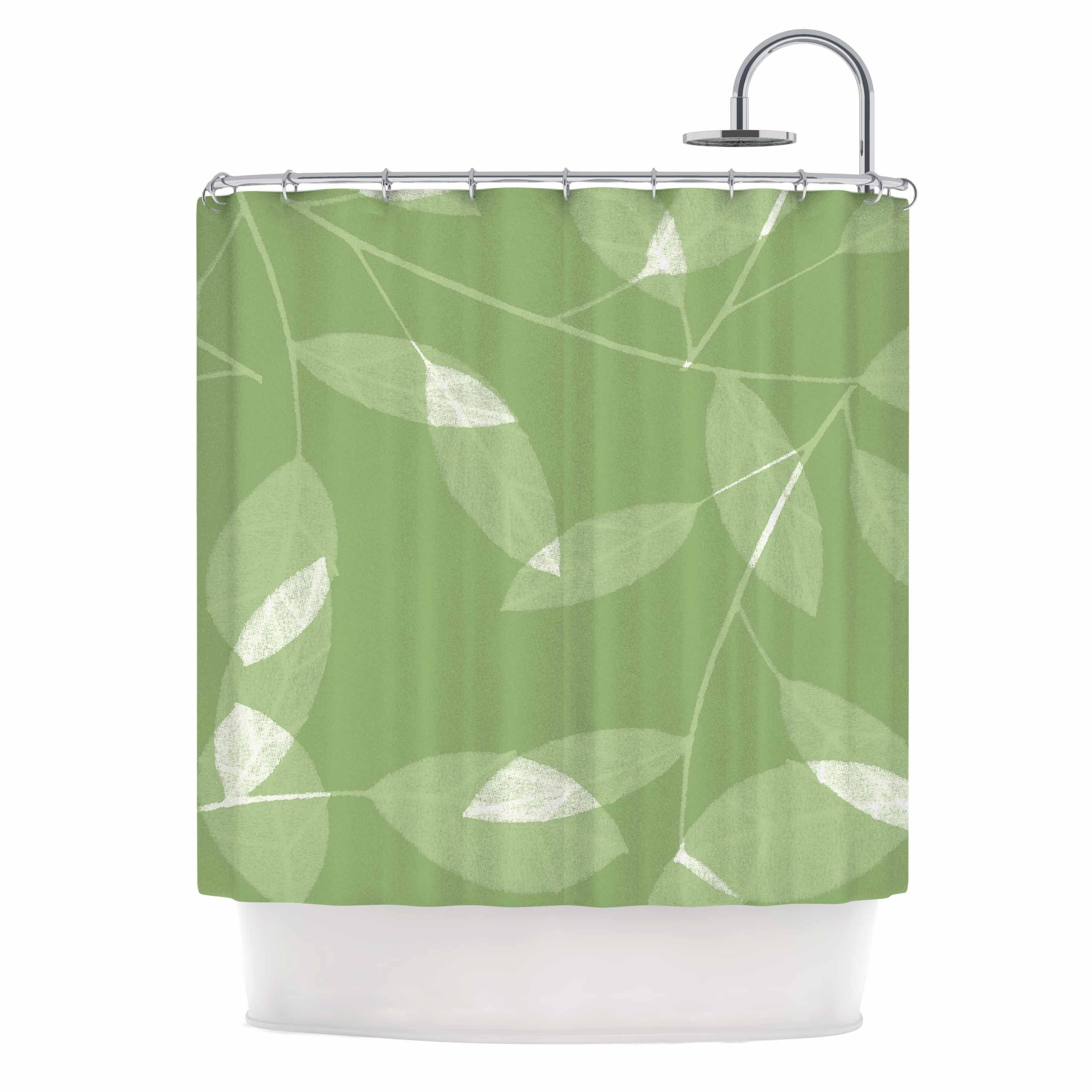 Alison Coxon Leaf Olive Green Shower Curtain Kess Inhouse In