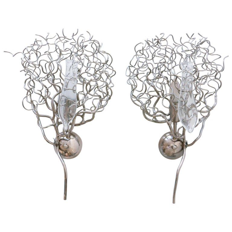 Set of Two Amazing Hollywood Wall Lamps by William Brand