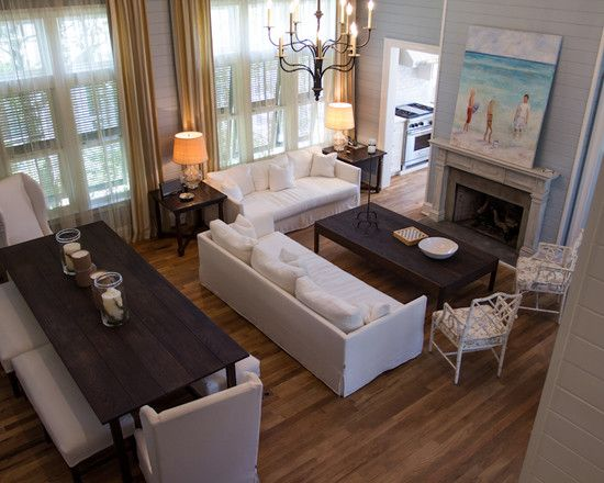 Lavish Carriage House Design with White Outdoor Painting: Cozy Open Floor Living Room Florida Cottage Style Carriage House
