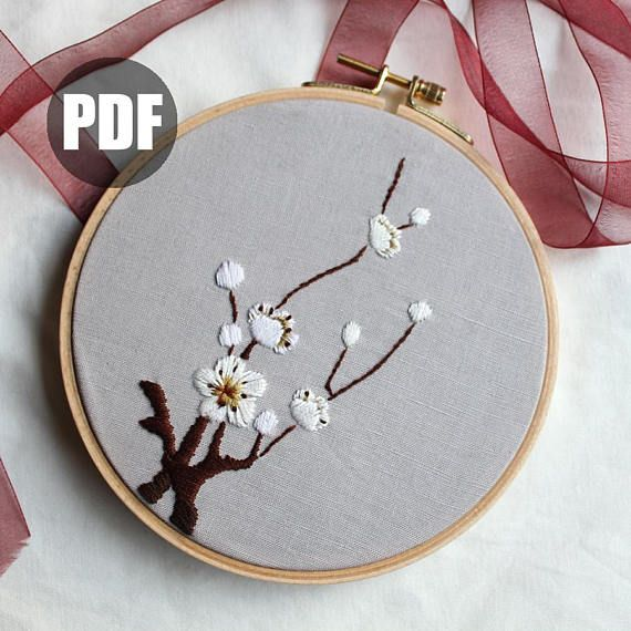 Chinese Prunus mume Embroidery Pattern, beginner embroidery, PDF pattern, Asian art, Modern Embroidery Pattern #embroiderypatternsbeginner