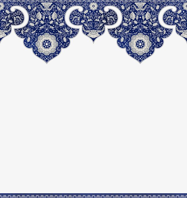 Chinese Floral Border Blue Frame Chinese Patterns Png