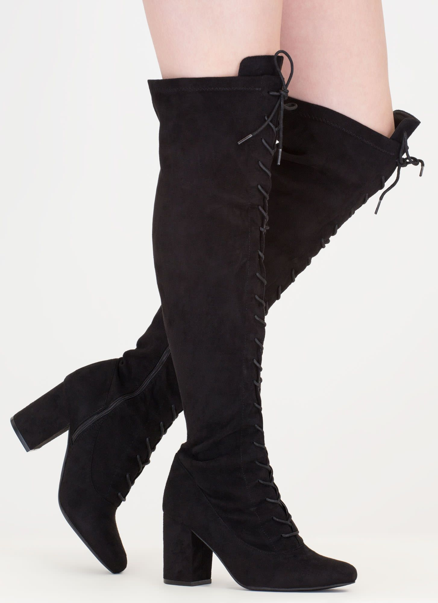 new appearance good best shoes Fierce Chunky Thigh-High Lace-Up Boots | Boots, Black thigh high ...