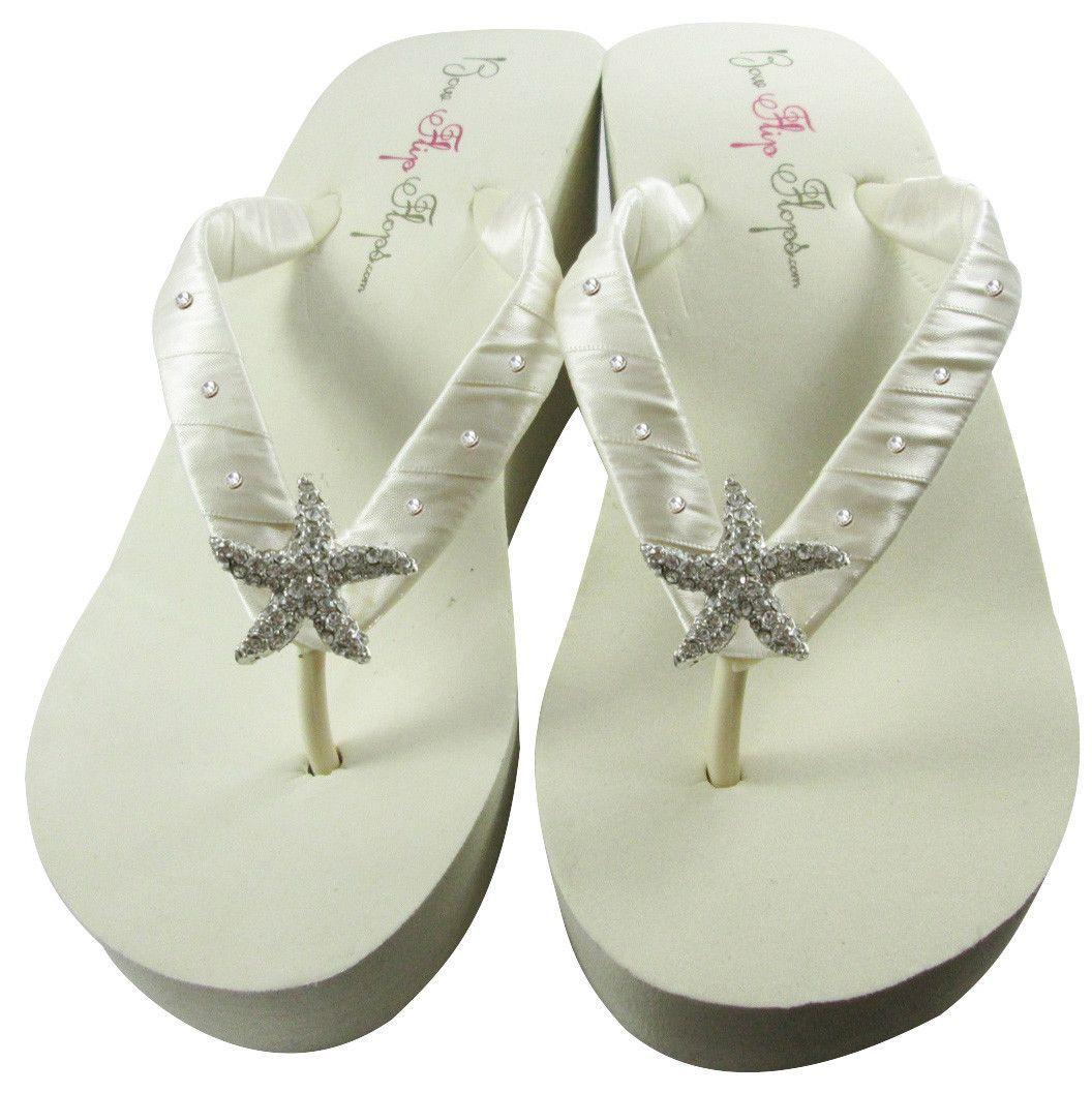 Ivory Bridal Flip Flops With Starfish Swarovski Rhinestones Wedding