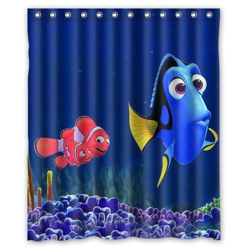 Polyester Bath Curtain Print Cartoon Finding Nemo Cute Ma