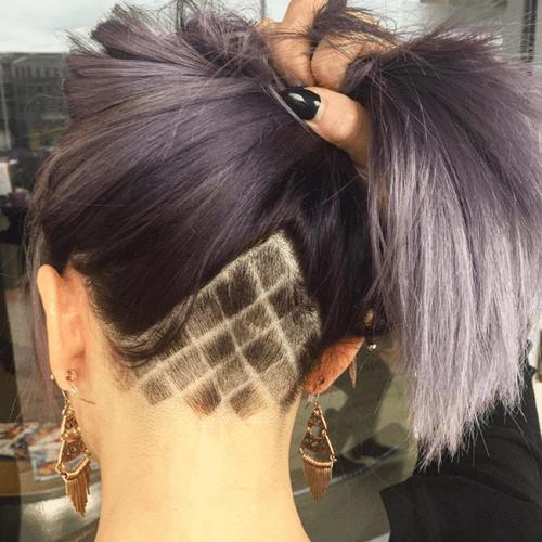 undercut long hair with diamond