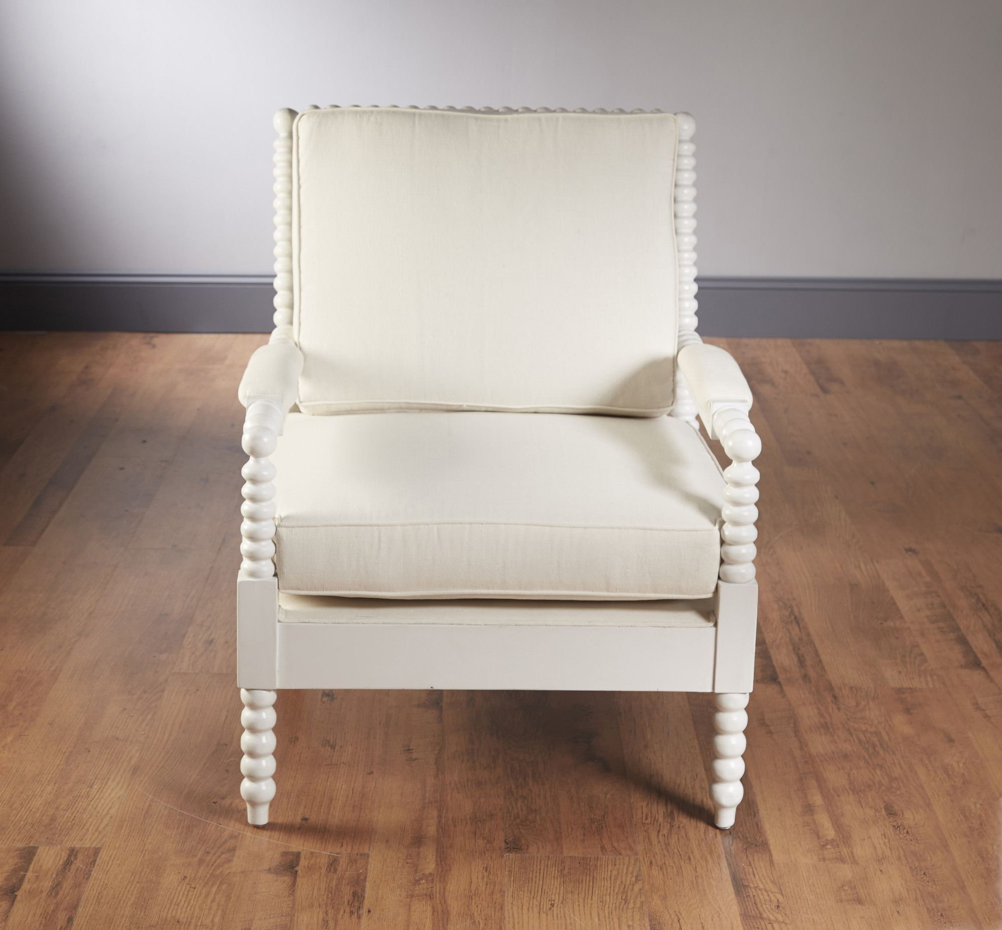AA Importing Bobbin Frame Arm Chair White leather dining