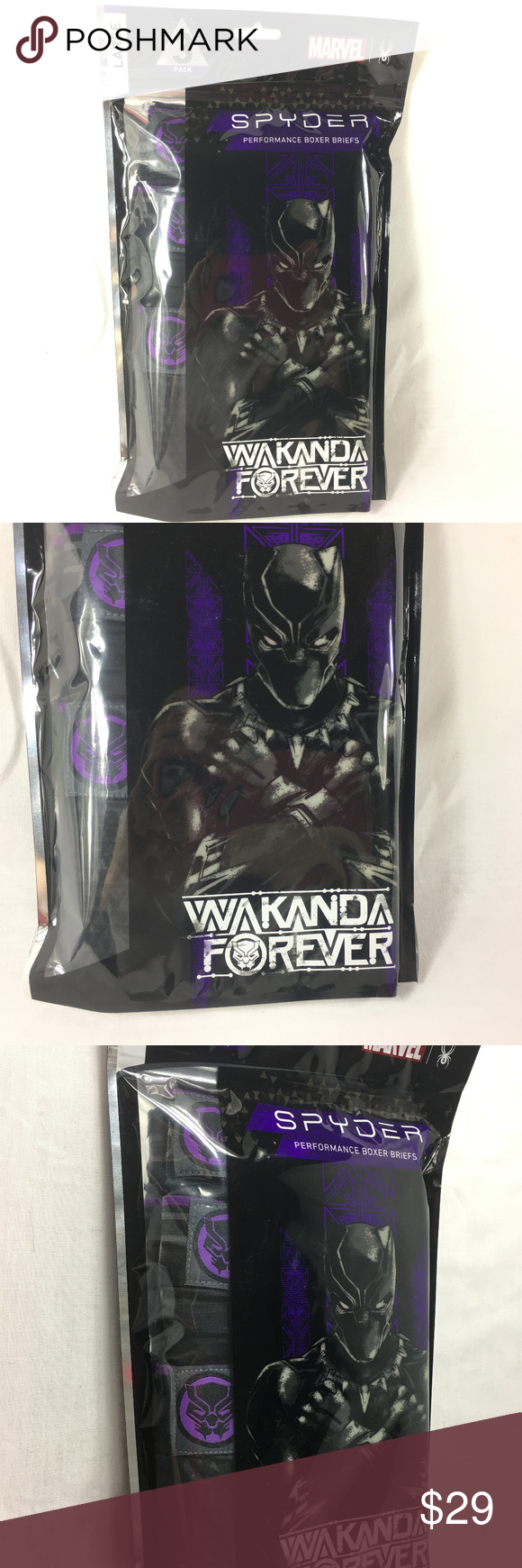 7acc5c301063 Spyder Black Panther Boxer briefs Spyder Marvel Black Panther Boxer Briefs  Men's Large 36/38 3 Pack NEW XL and Large Medium available in my store  Spyder ...