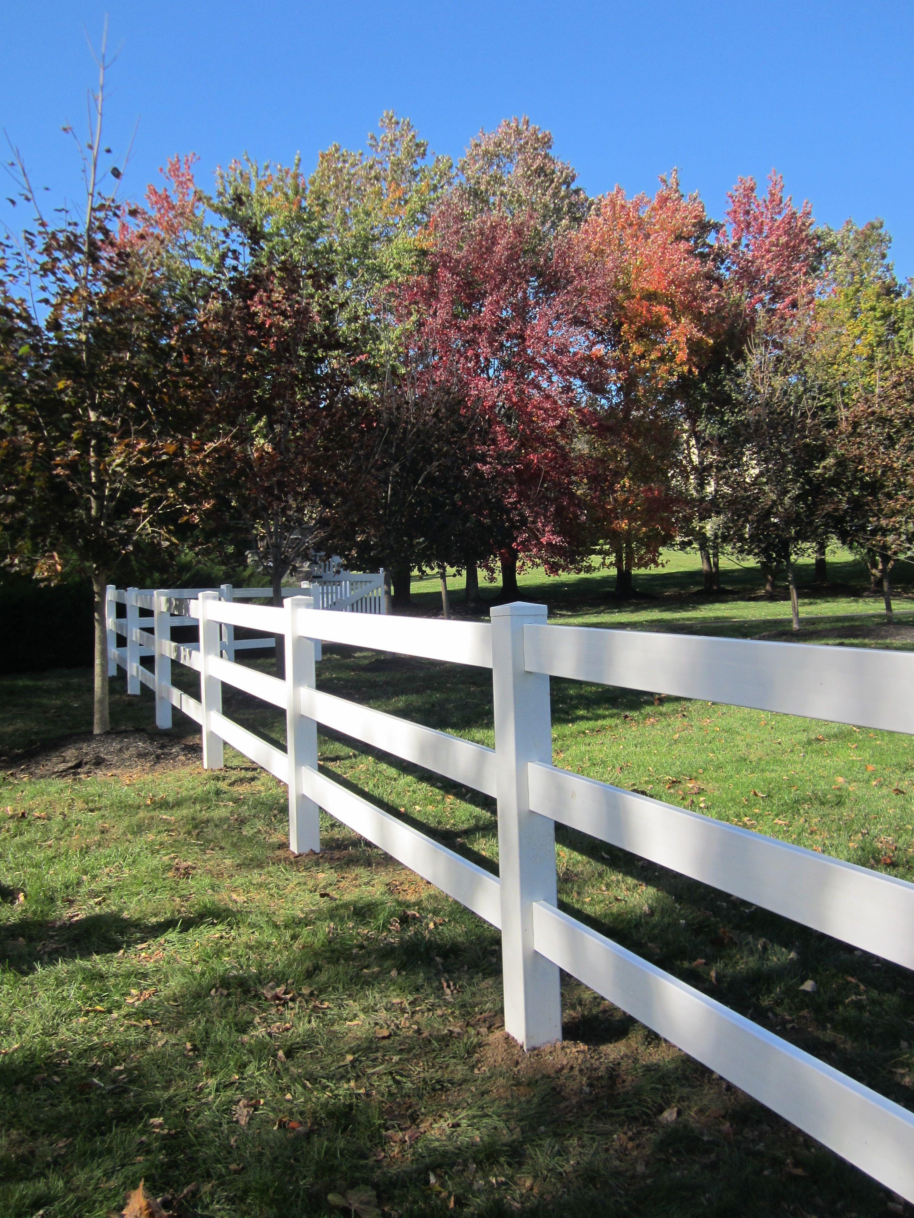 4\' tall white Ranch Rail vinyl | Fence Ideas | Pinterest