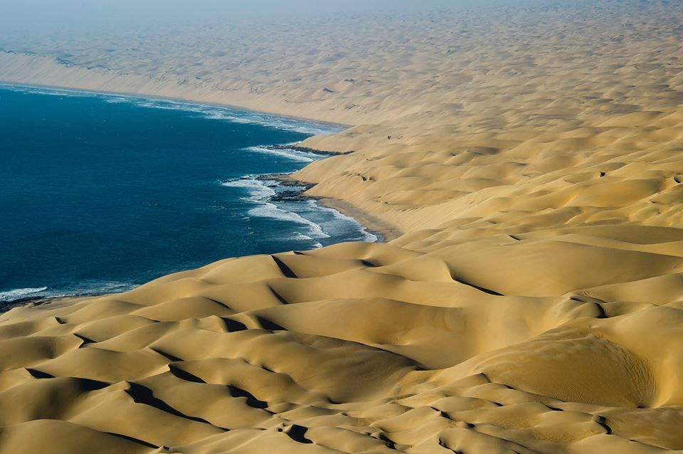 """When sea meets sand"""". The dunes of Namibia meet the Atlantic Ocean. Photo  by Dana Allen for Wilderness Safaris. 
