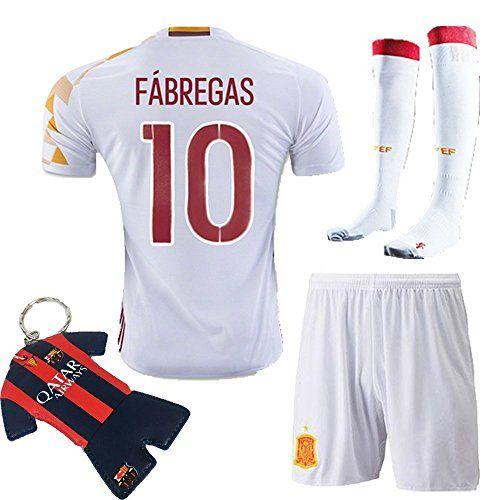 9a5a82c3f Soccer Kids 2016 Kids Youth Spain Away Jersey 10 FABREGAS Kit Short Sleeve  Shorts Socks Key