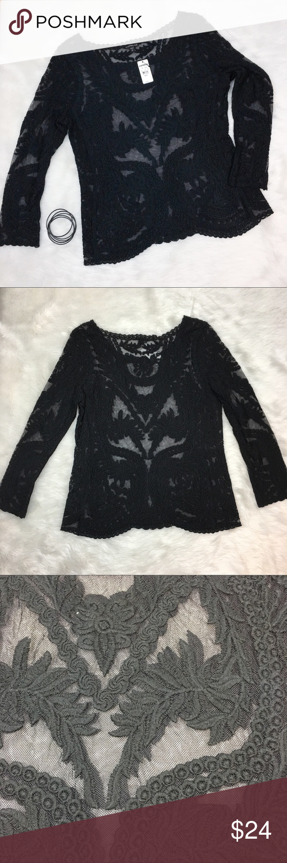 Express Black Lace 3/4 Sleeve top Express black lace 3/4 sleeve top. Size medium. Approximate measurements are 25' long, 16' sleeve, & 18' bust. NWT. Express Tops