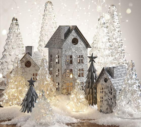 Galvanized Village Houses Diy Christmas Village Christmas Village Houses Decorating With Christmas Lights