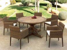 mesas de madera de exterior modelo teck redonda