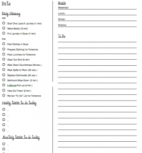 Helpful For The Summer  Cleaning Schedule  Meals  To Do List