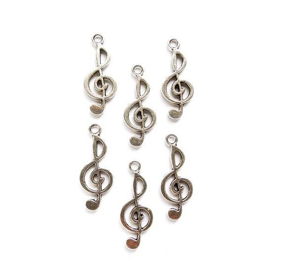 6 Antique Silver Treble Clef Music Charms by TreeChild1 on Etsy