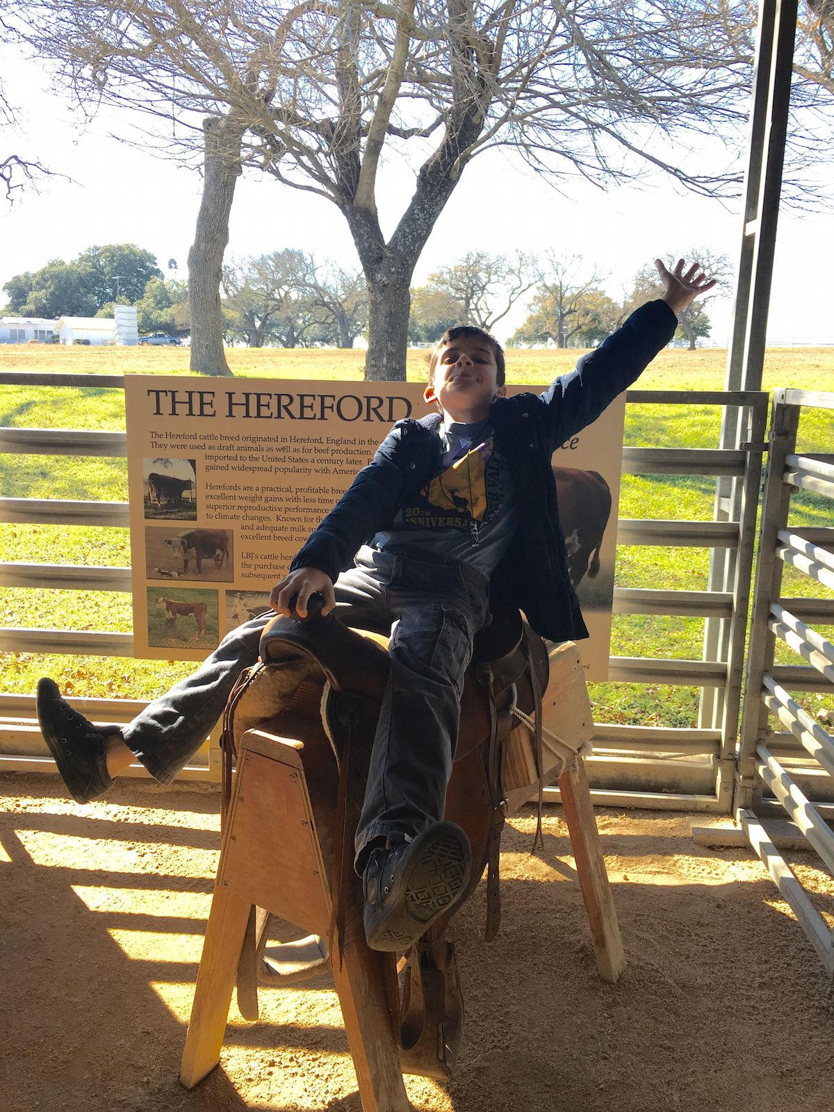 Learning the skills of a cowboy at LBJ Ranch in Texas. Presidents Day,