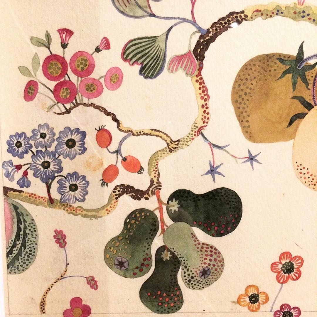 Detail of watercolour design by Josef Frank (1885-1967) at the Fashion and Textile Museum in London. So lovely to see his original hand painted designs & private watercolour paintings close up. Exhibition runs until 7th May & in my opinion is well worth visiting. #joseffrank#fashionandtextilemuseum#art#design#fabric#textiles#pattern#furniture#painting#watercolourpainting#colour#inspiration #textile pattern