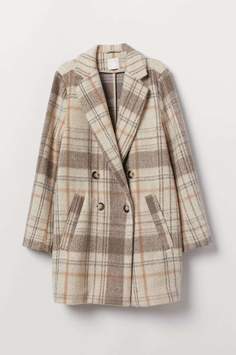 Double Breasted Coat Light Beige Plaid Ladies H M Us Online Shopping Clothes Women Coat Double Breasted Coat