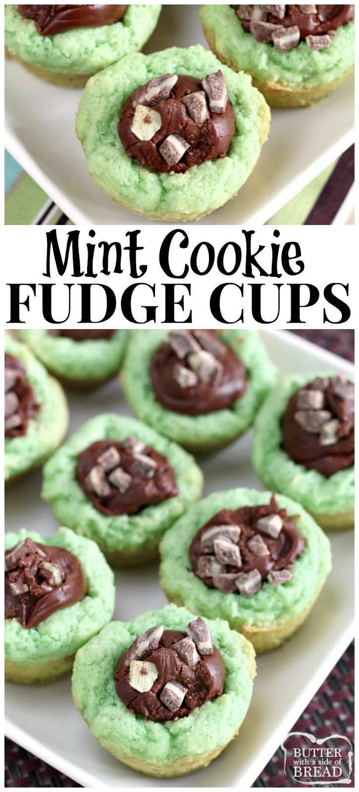 Mint Cookie Fudge Cups - simple mint cookies filled with a smooth, creamy fudge & topped with Andes mints! Dessert recipe from Butter With a Side of Bread