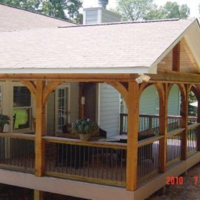 Gabled Roof Open Porch With Timbertech Twin Finish Cedar