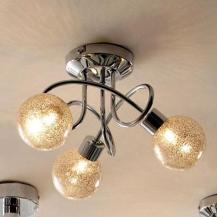 bedroom hallway landing glitter ball 3 light chrome. Black Bedroom Furniture Sets. Home Design Ideas