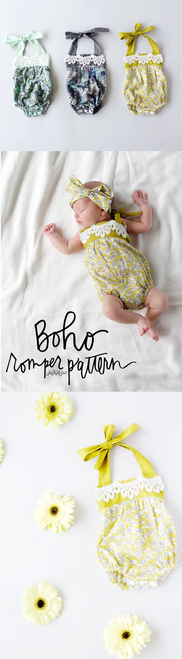 boho baby romper pattern | Schnittmuster baby, Baby strampler und ...