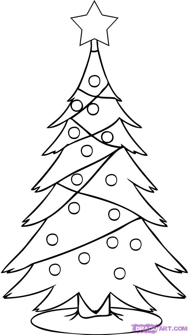 How To Draw A Christmas Tree Step 4 Christmas Tree Drawing Tree Coloring Page Christmas Drawing